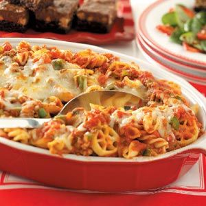 Ground Beef Recipes from Taste of Home, including Four-Pasta Beef Bake Recipe #beefbake