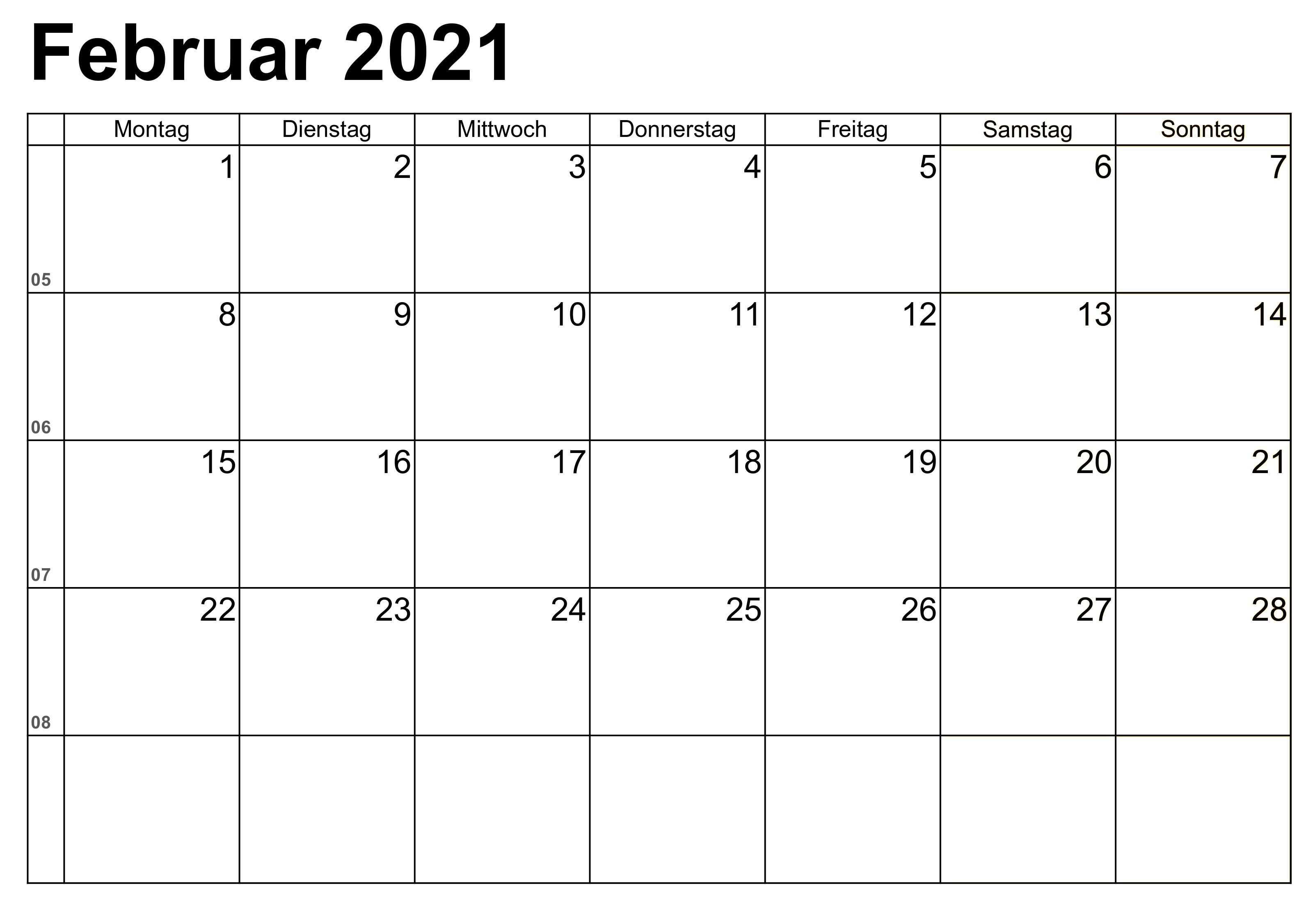 Druckbare Februar Kalender 2021 Zum Ausdrucken In 2020 Februar Kalender Kalender Kalender Vorlagen