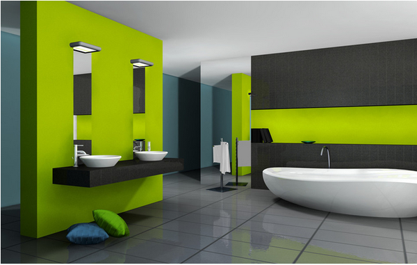 Bright Green And Gray Modern Bathroom Modern Bathroom Inspiration From Bathroom Bliss By