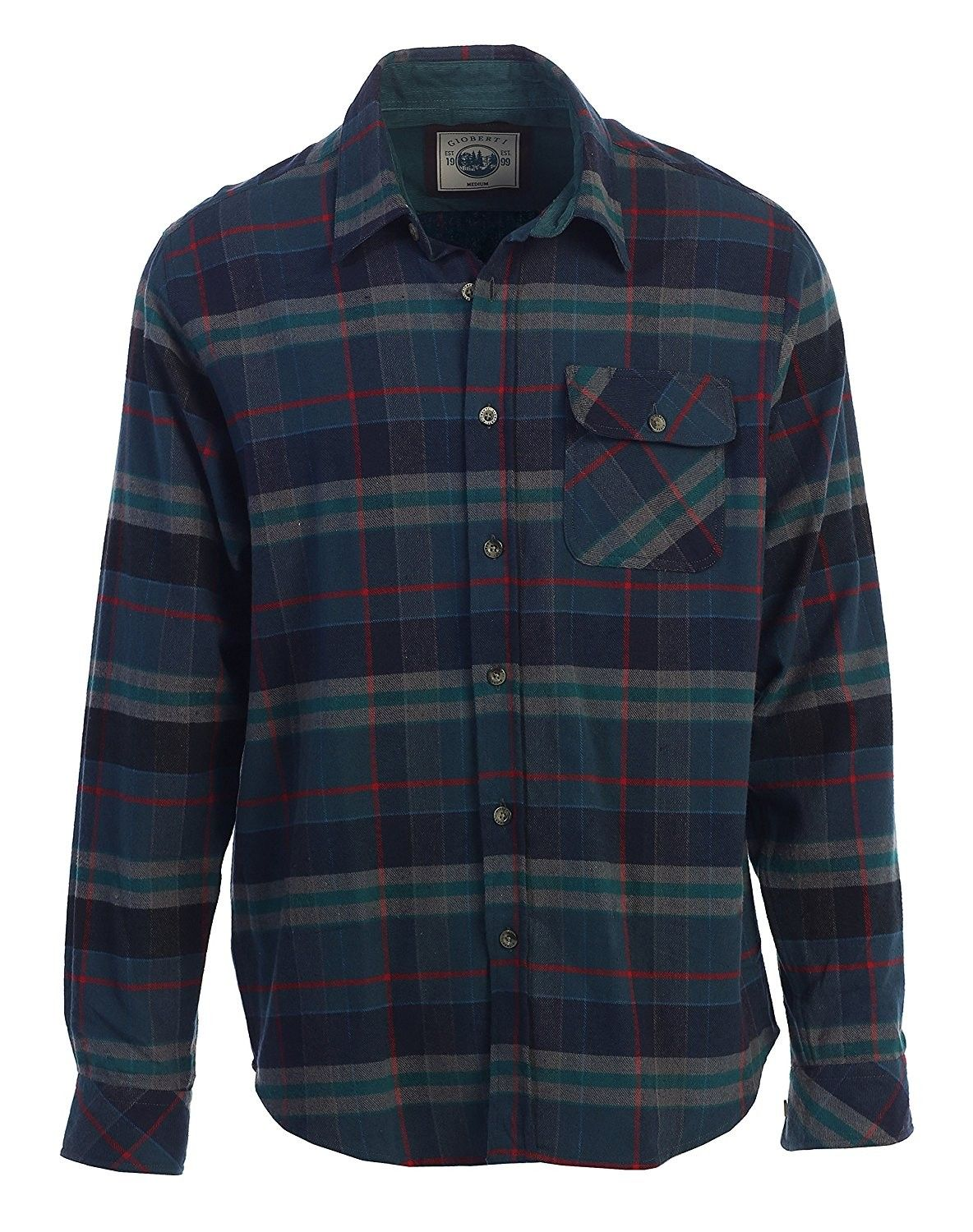 d0063bd2e67f Men's Clothing, Shirts, Casual Button-Down Shirts, Men's Long Sleeve  Flannel Shirt With Corduroy Contrast - 54 - Dark Green / Red Highlight -  CA187C3X4KY ...