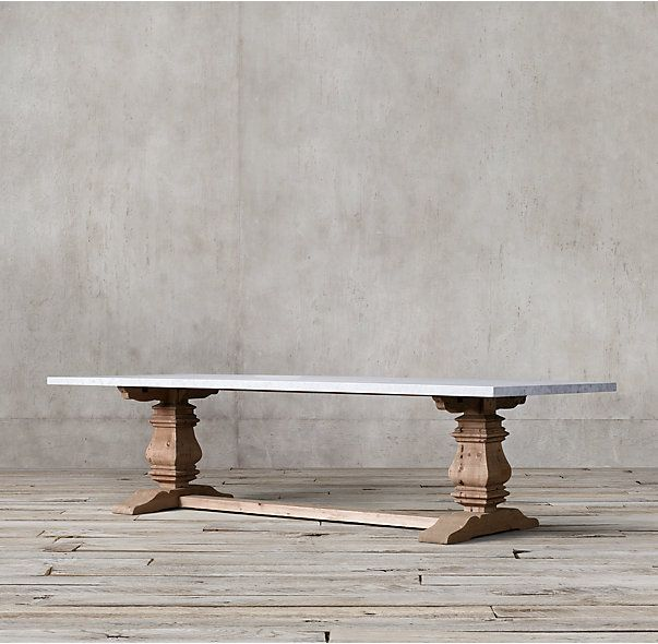 Salvaged Wood Marble Trestle Rectangular Dining Table Dining Table Rectangular Dining Table Dining Table Marble