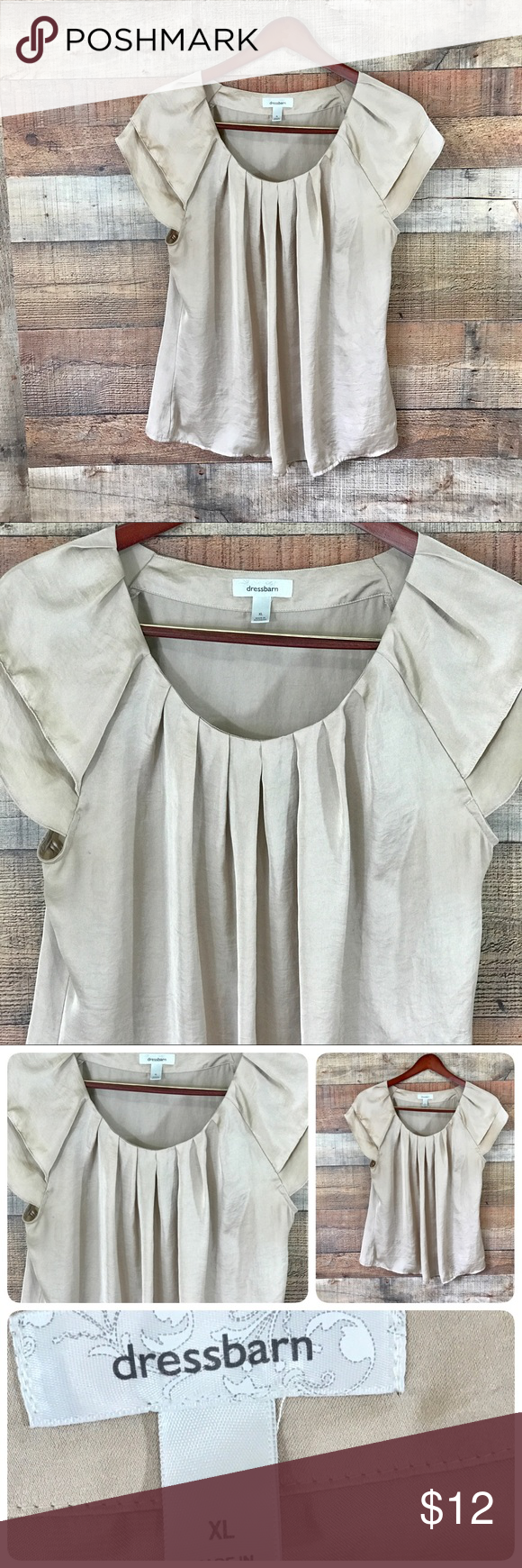 "Dress Barn XL Silky Bronze Tunic Top Pin Tucked scoop neck Top with double Ruffle sleeves. Easy Care Polyester Machine wash. Pit to pit measures 23"" Length 28"". Gently used with no flaws Dress Barn Tops Blouses"