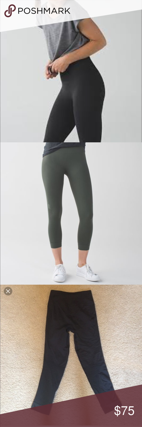 4af9b4c3e9e40d Lululemon high waisted zone in crop Used a few times/ high waited dark grey  zone in crop leggings / size 4/ no tag on the inside / fit great lululemon  ...