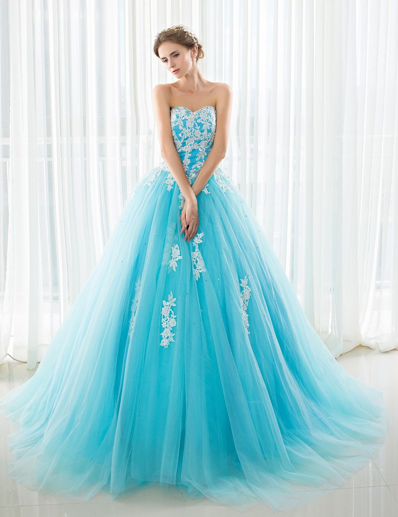 2017 New Arrival Prom Dresses Blue Ball Gown with Court Train Tulle ...