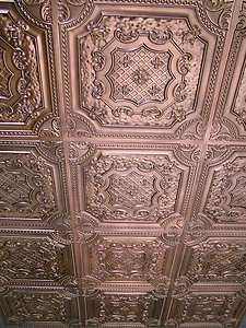 Victorian Ceiling Wallpaper Embossed Faux Tin Ceiling Tile Td04 Brushed Copper Glue Up Or Drop I Victorian Ceiling Tile Tile Wallpaper Faux Tin Ceiling Tiles