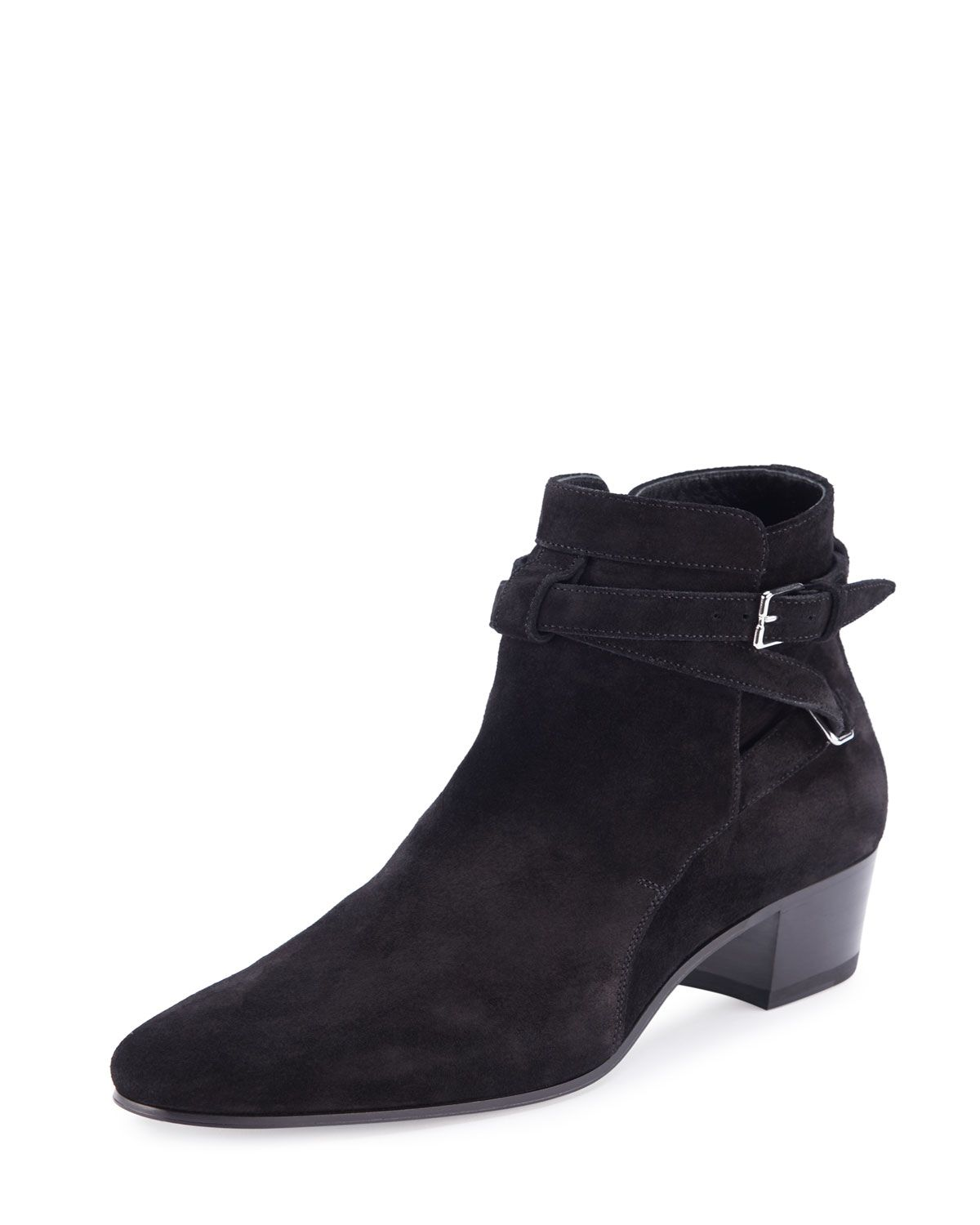 0b1c550f3a4 Yves Saint Laurent Blake Suede Ankle-Wrap Bootie, Nero | *Neiman ...