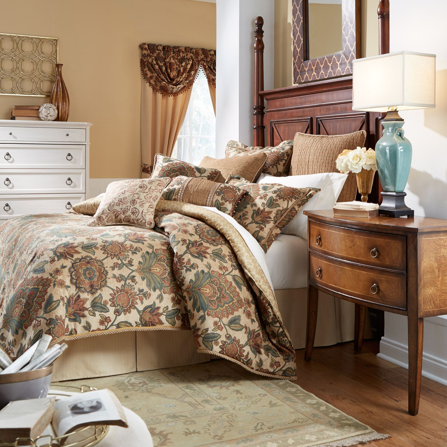 The Minka Bedding Collection is a traditional multi colored Jacobean