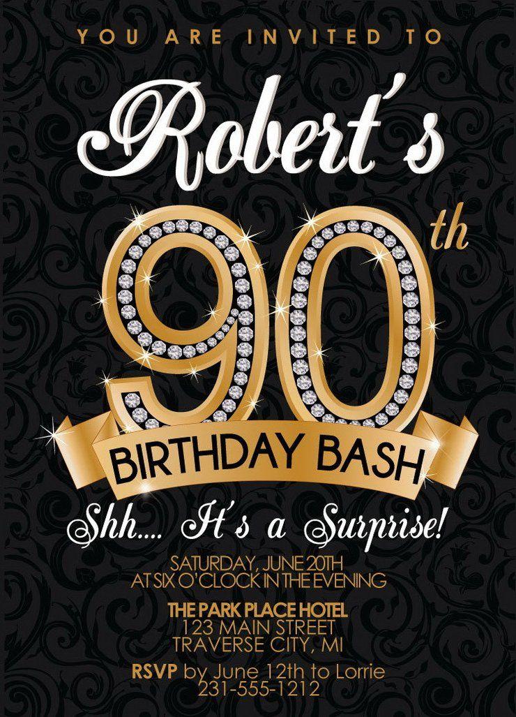 Diamond 90th Birthday Invitation Invitaciones de fiesta