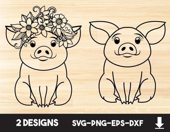Download Pigs Svg files for cricut, Farm animal flower, Piggy ...