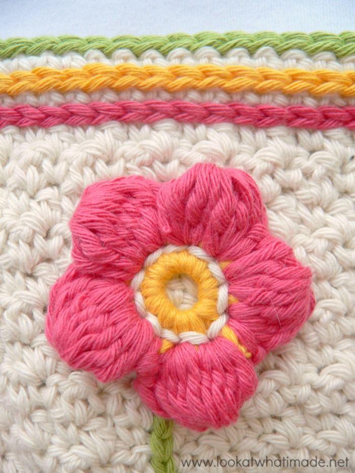 Flower Garden Dishcloth Applique Flowers Crochet Crochet Flower