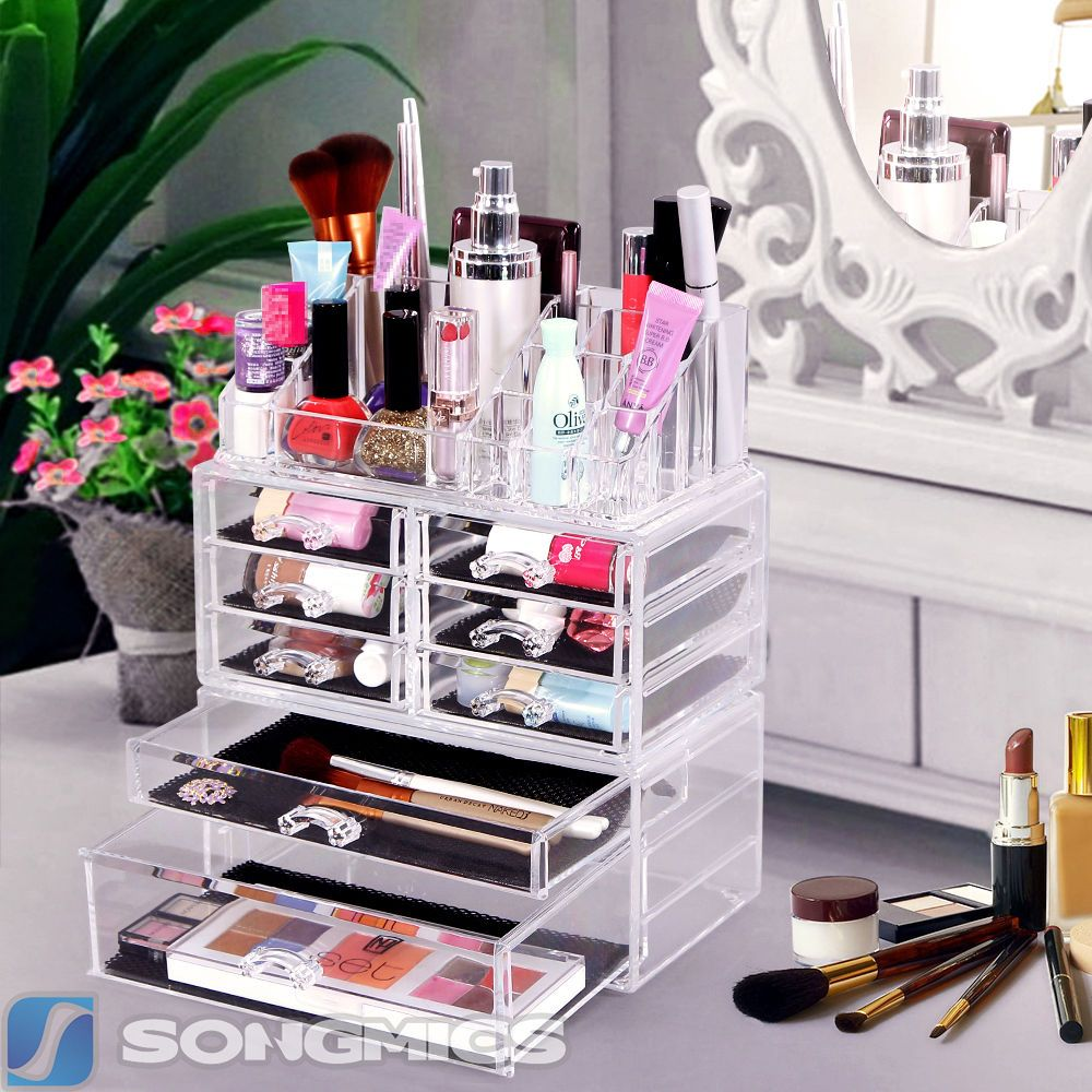 Songmics Acrylic CosmeticMakeup Organizer Jewelry Box Bathroom