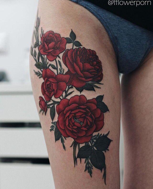 Rosas Rojas Pierna Tattoos Tatuajes Muslo Tatuajes De Rosas Y