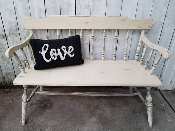 Super Farmhouse Bench Shabby Chic Vintage Wood Bench French Pabps2019 Chair Design Images Pabps2019Com