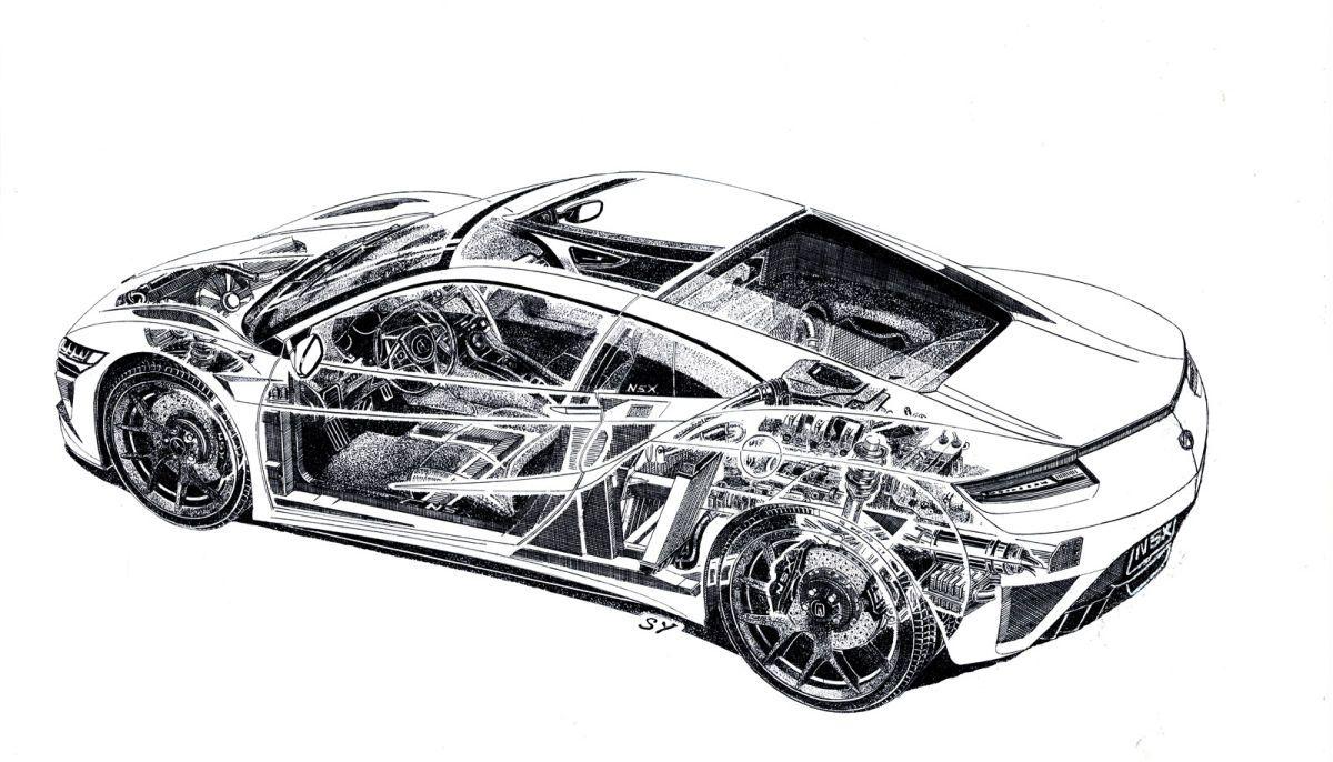 Acura Nsx Cutaway Sketch Photo Gallery Rc Car Pinterest Acura