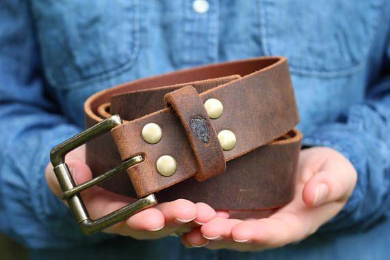 Pele Belt Men 1-1//2 Wide Brown Genuine Full Grain Leather Roller Buckle