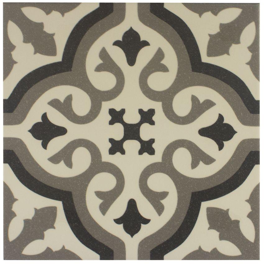 Carrelage imitation carreau ciment sol et mur blanc 20 x 20 cm ...