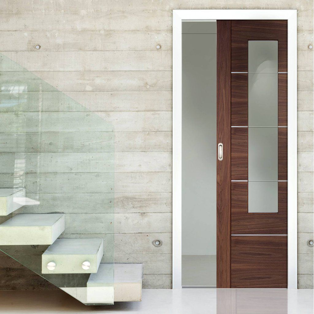 Single Pocket Doors Glass single pocket portici walnut flush door, aluminium inlay & clear