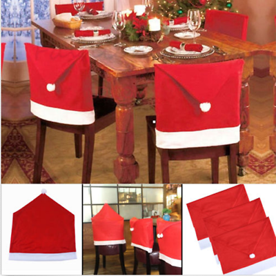 Party Christmas Decoration Table Red Hat Decor Dinner Chair Cover Clause With Images Christmas Dinner Table Christmas Table Decorations Xmas Table Decorations