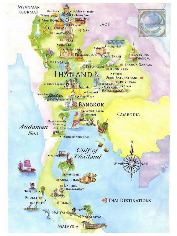 Detailed Tourist Map Of Thailand Thailand Detailed Tourist Map