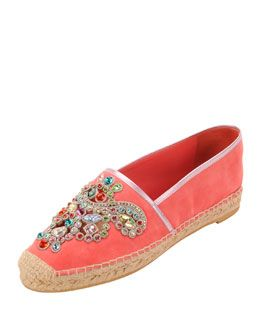 X22BY Rene Caovilla Embellished Suede Espadrille Flat, Coral