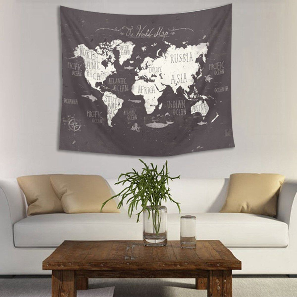 Polyester world map wall hanging tapestry 150x130cm indian mandala polyester world map wall hanging tapestry 150x130cm indian mandala throw blanket cloth home room art wall decor textiles gumiabroncs Images