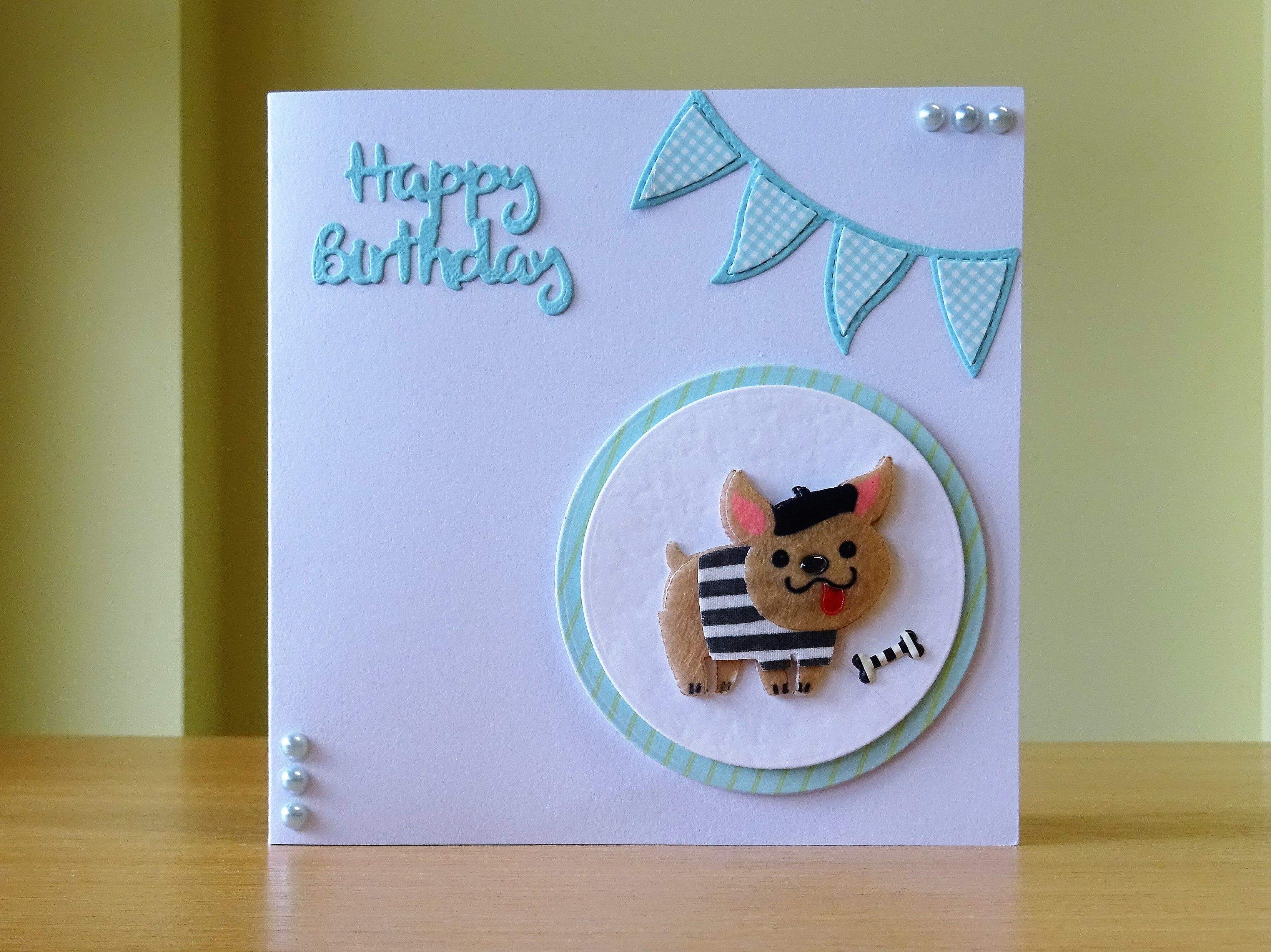 Birthday card french bulldog embellishment for more of my cards