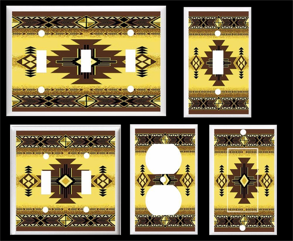 Southwest design golden and brown plastic light switch cover plate ...