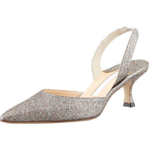5eb1a699c69 Manolo Blahnik Carolyne Glittered Low-Heel Halter Pump (15