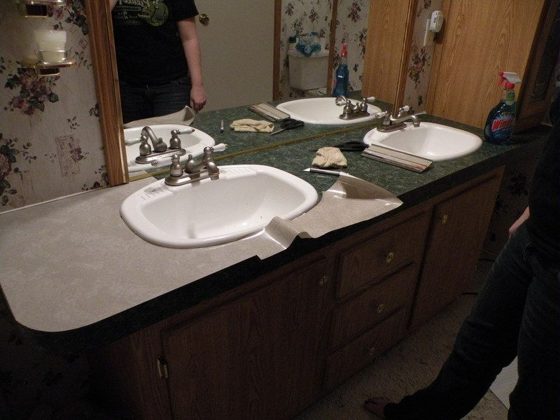 Cheap Countertop Redo With Contact Paper