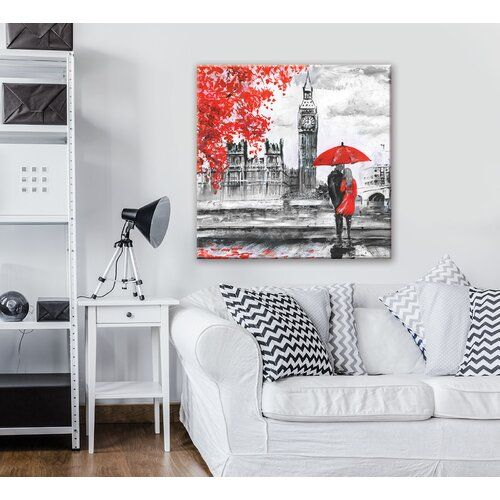 'London' Graphic Art Print on Canvas in Black/White/Red East Urban Home Size: 80cm H x 80cm W
