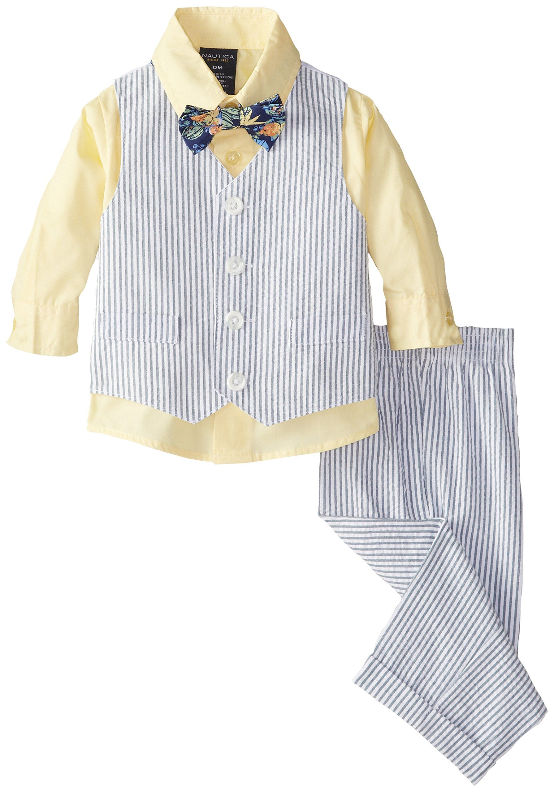 Nautica Baby Boys' Seersucker Set, Sunny, 24 Months. Three-piece dress set featuring matching seersucker vest and pant with button-front shirt. Includes coordinating bow-tie.