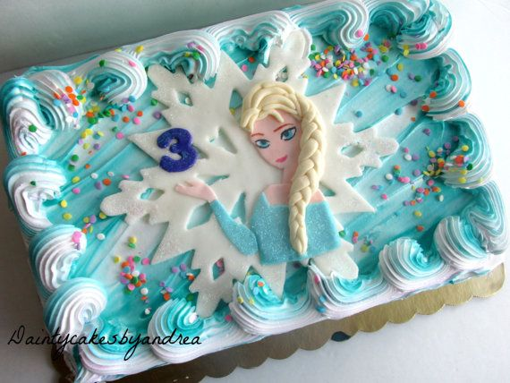 Fondant Disney Elsa inspired sheet cake by daintycakesbyandrea