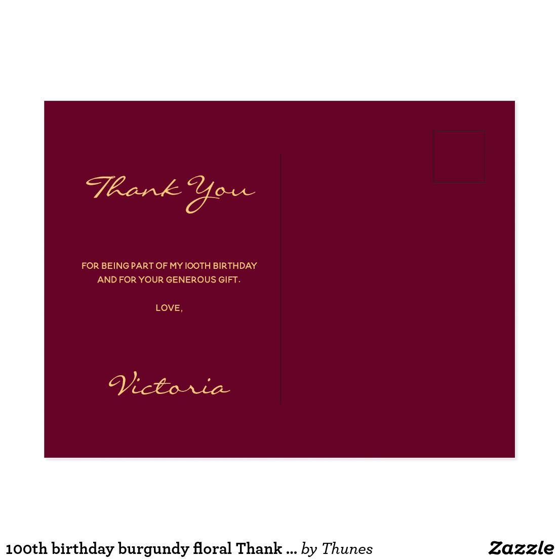 100th Birthday Burgundy Floral Thank You Postcard