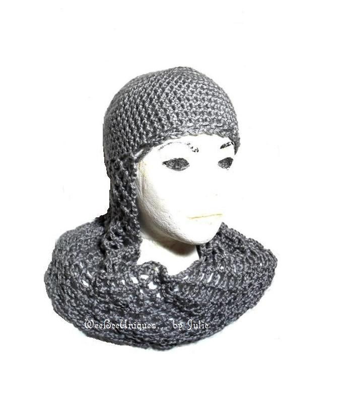 Crochet Chainmail Medieval Knight Helmet Hat For Fantasy And