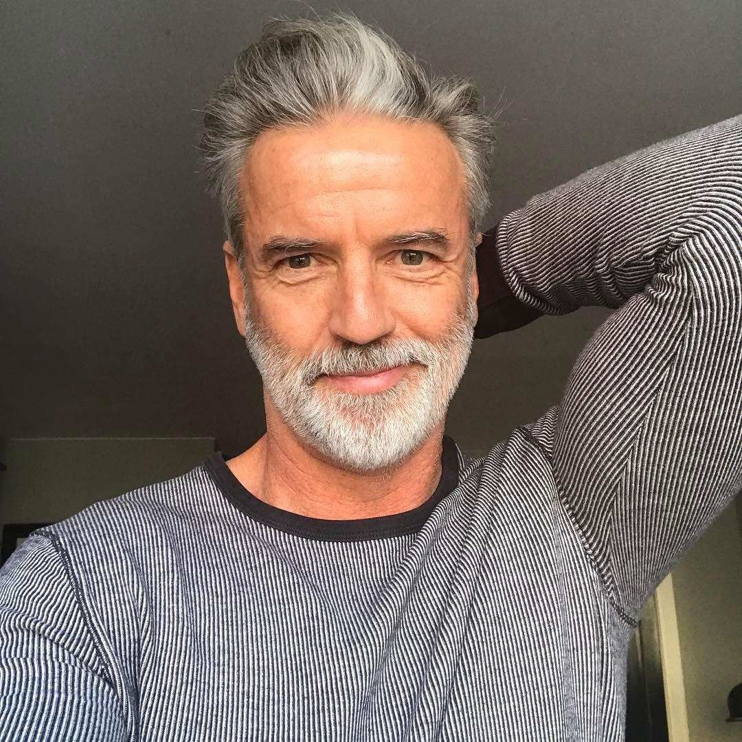 Silver Haired Man Grey Hair Men Silver Hair Men Hair And Beard Styles