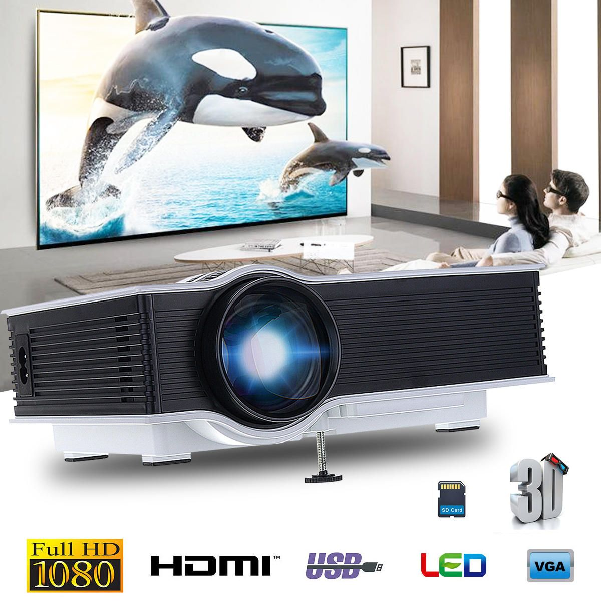 GIGXON G40 1200 LM 1080P Led Projector Full HD Compatible Home Portable Mini Projector HDMI