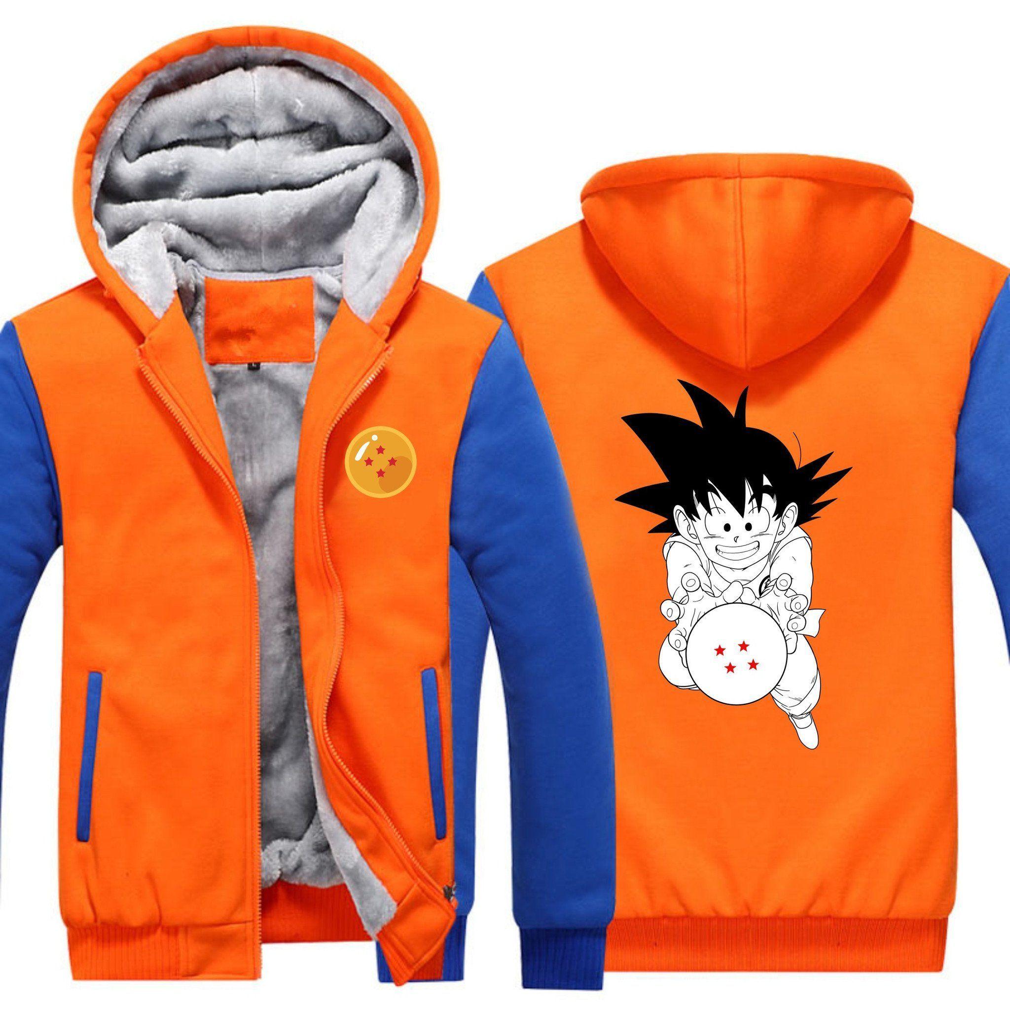 5b00e456138 Dragon Ball Z - Kid Goku 4 Star Ball Fleece Hoodie - Zip-up Hoodie ...