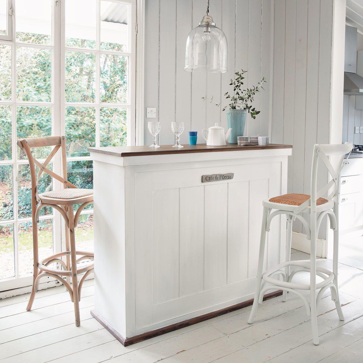 Meuble de bar avec tiroirs en bois blanc L129 | Déco | Meuble bar ...