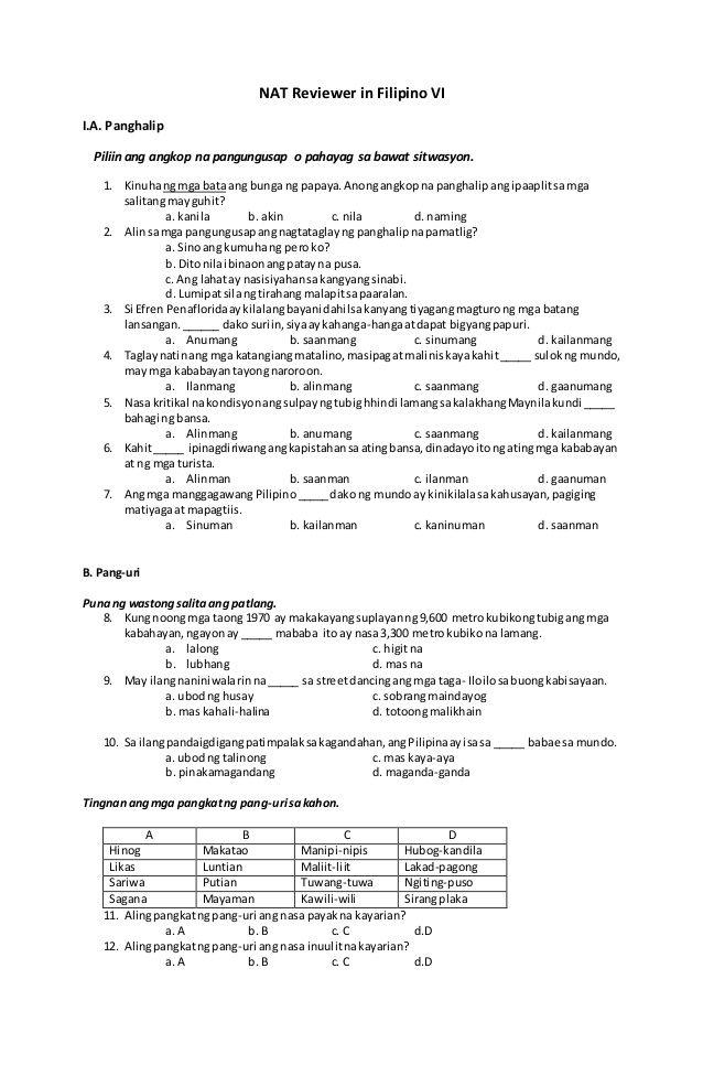 NAT Reviewer In Filipino VI I A Panghalip Piliin Ang Angkop