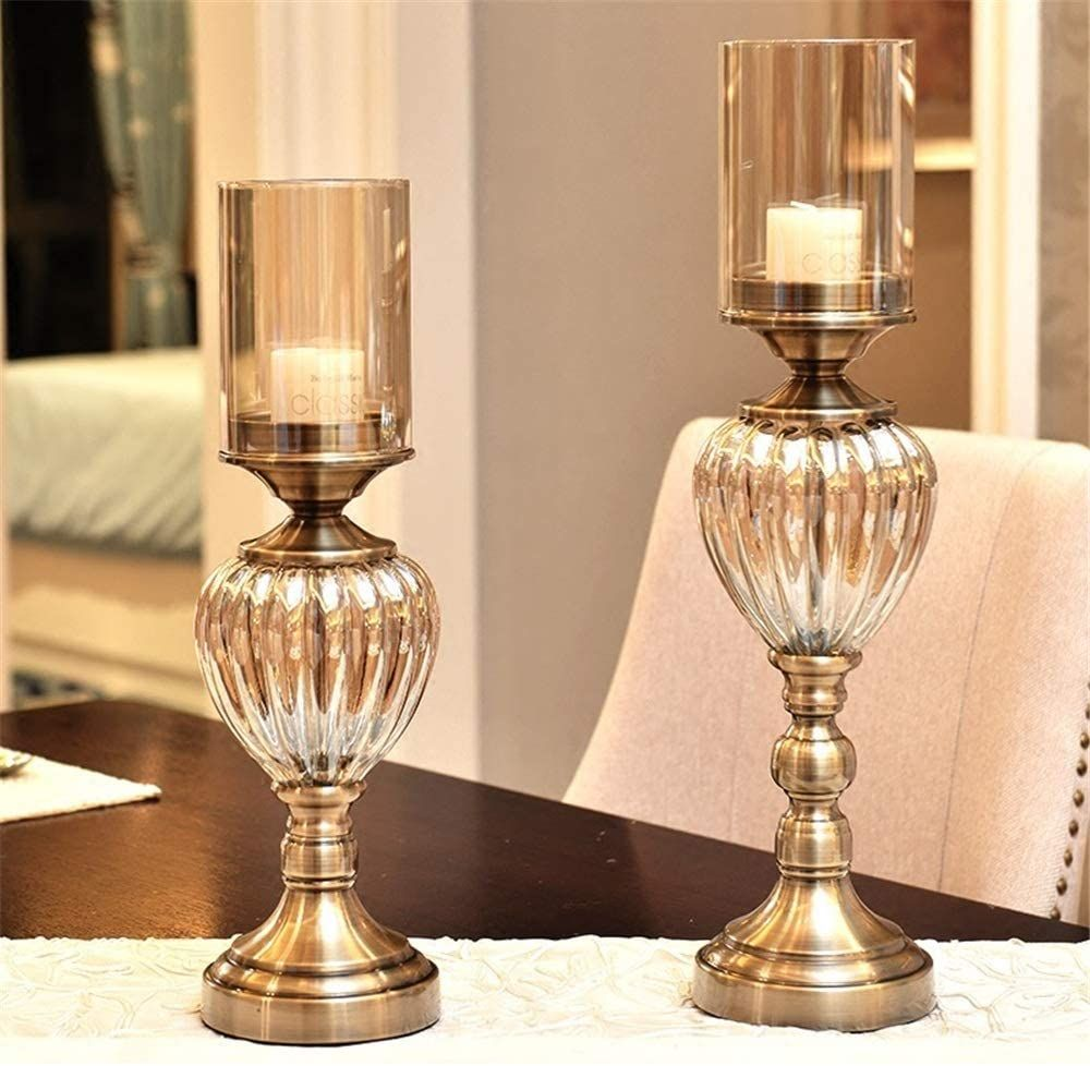 Living Room Bedroom Decoration Vintage Metal Hurricane Candle Holder Set With Crystals Metal Pillar Wedding Candle Holder Decor Lamp Decor Pillar Candle Decor