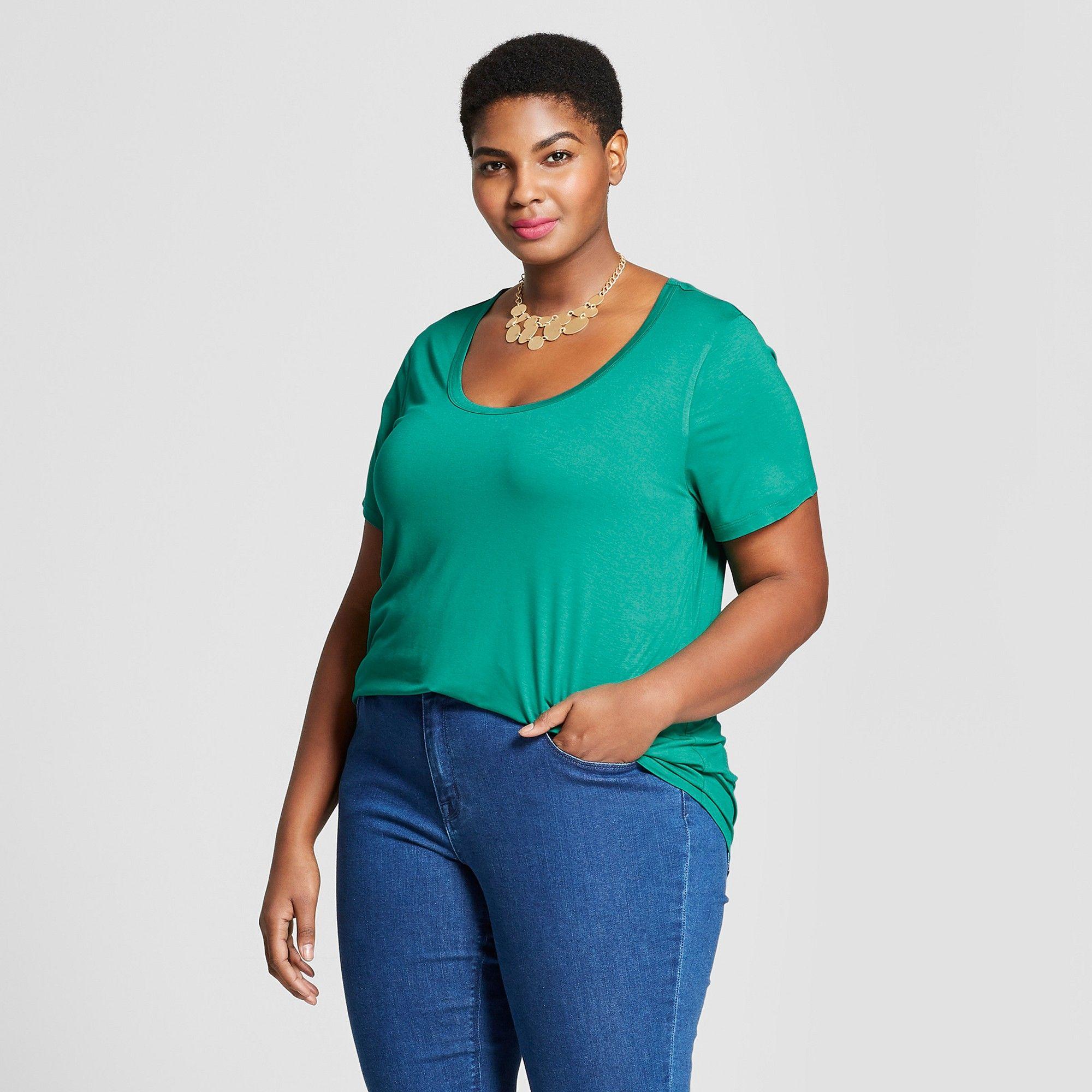 88bbb98d9a9 Women s Plus Size Short Sleeve Perfect T-Shirt - Ava   Viv Mint Gel ...