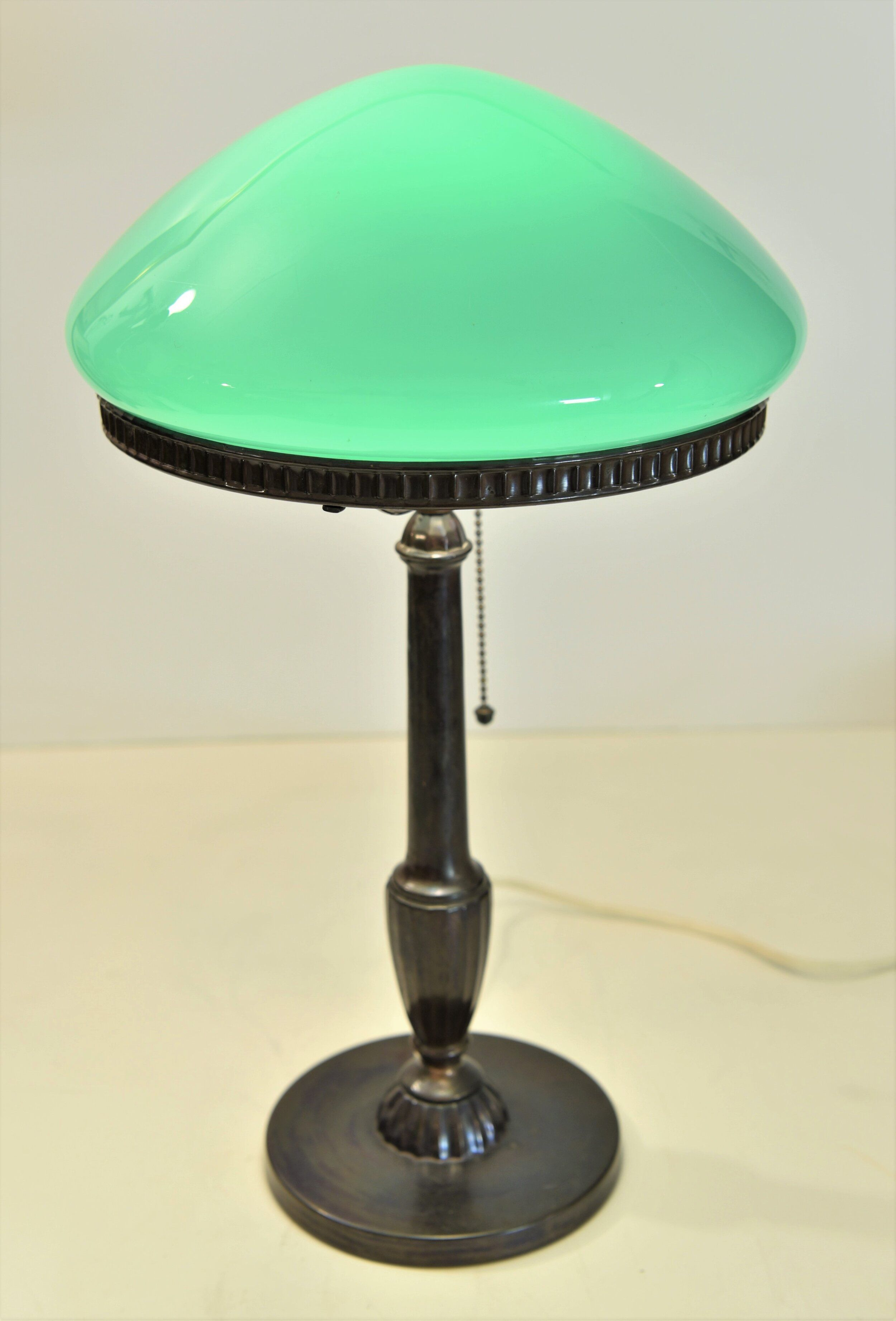 Antique Art Deco Gilded Figural Table Lamp With Marbled