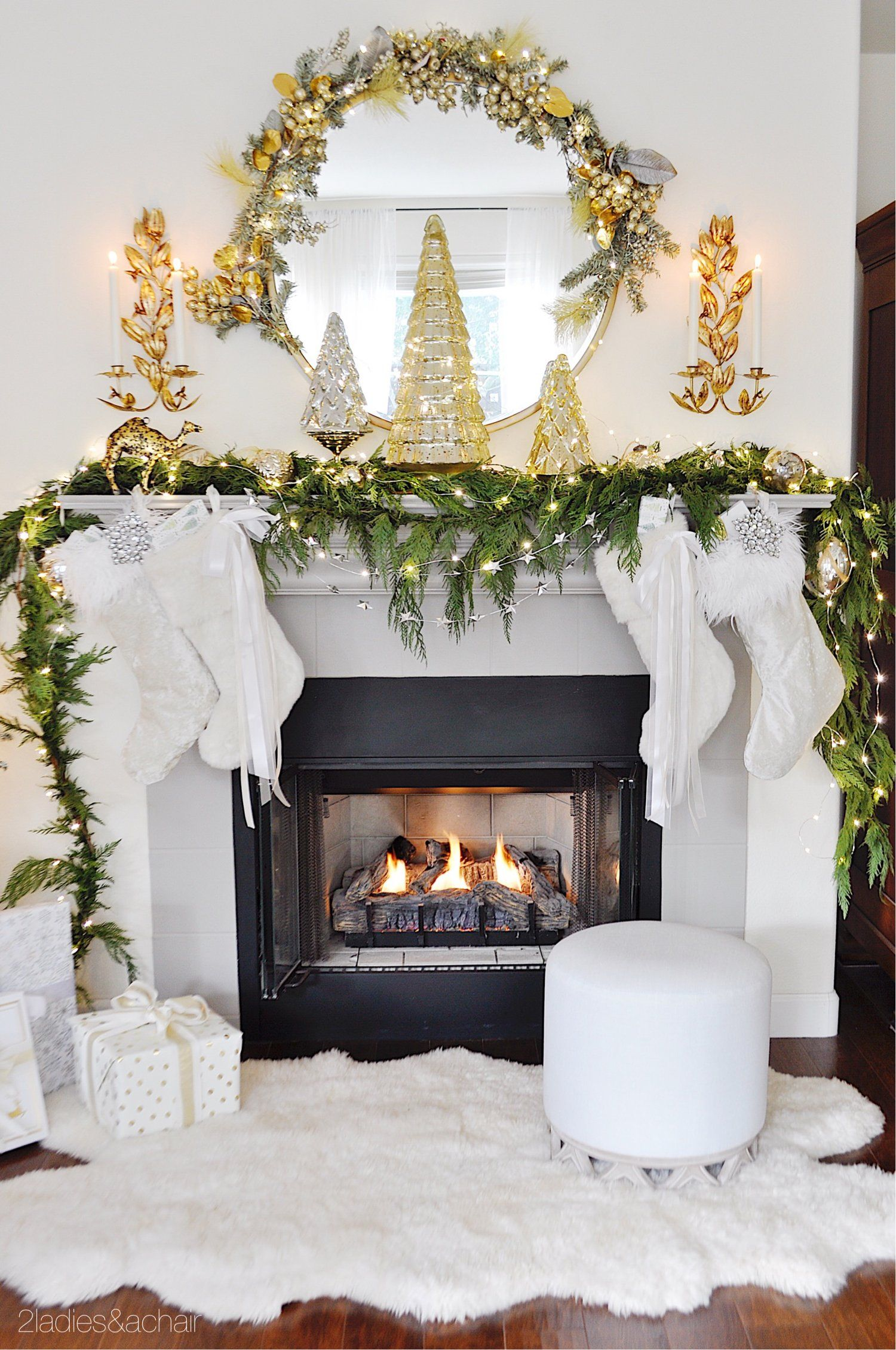 Christmas Home Tour With Rustic Luxe Style 2 Ladies A Chair Christmas Home Christmas Mantel Decorations Modern Christmas Decor