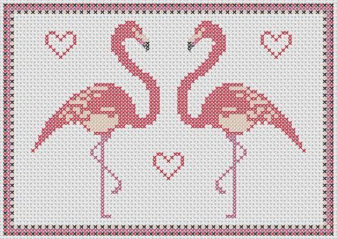 Pink Flamingo cross stitch pattern: lovebird flamingos