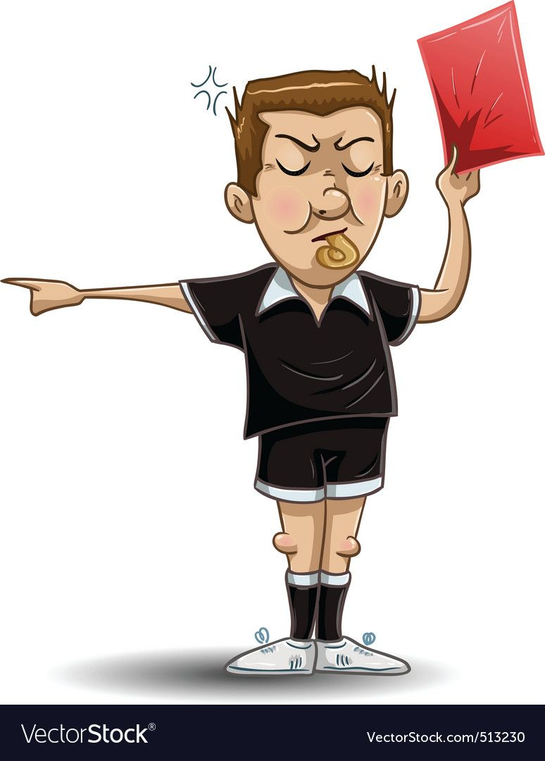 Soccer Referee Holds Red Card Vector Image On Con Imagenes Arbitro Tarjeta Roja Personajes