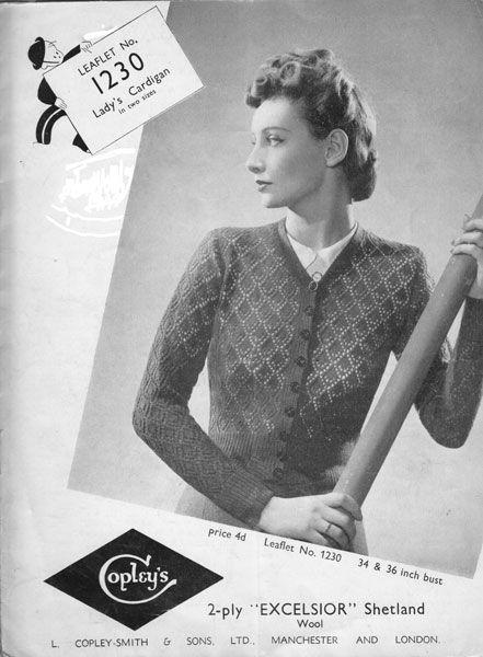 Copleys 1230 Vintage Ladies Cardigan Knitting Pattern 1930s
