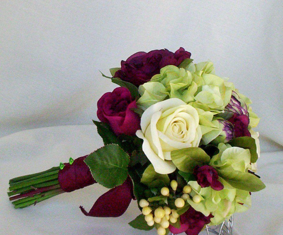 Silk Wedding Flowers Burgundy green Brides Maids Bouquets