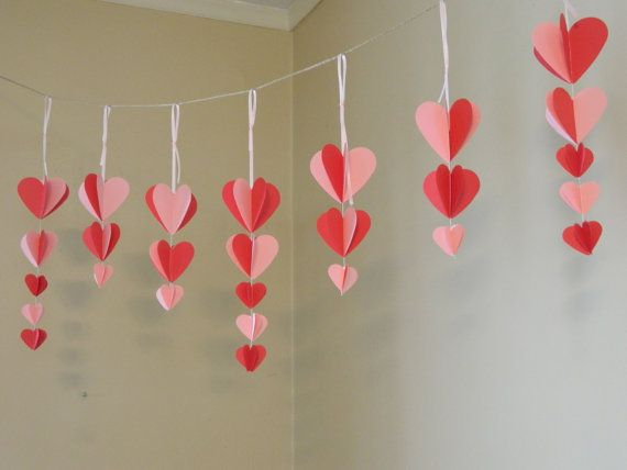 Paper Garland Valentines Day Decor Wedding Decor Photo Prop 3d Heart Garland Pink And Red H Paper Heart Garland Valentines Party Decor Valentine Decorations