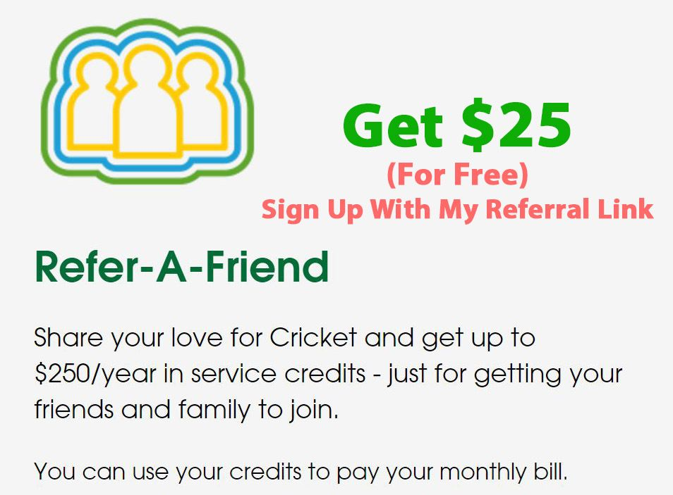 cricket wireless coupon for free $25 referral reward | Coupons