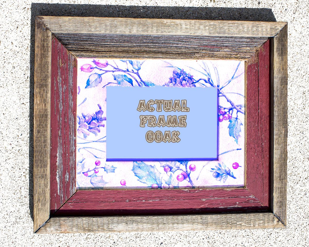 Barnwood picture frame 8x10 w ooak holiday matting to hold